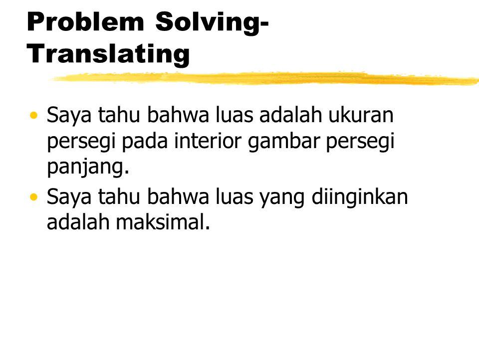 Problem Solving- Translating Saya tahu bahwa luas adalah ukuran persegi pada interior gambar persegi panjang. Saya tahu bahwa luas yang diinginkan ada