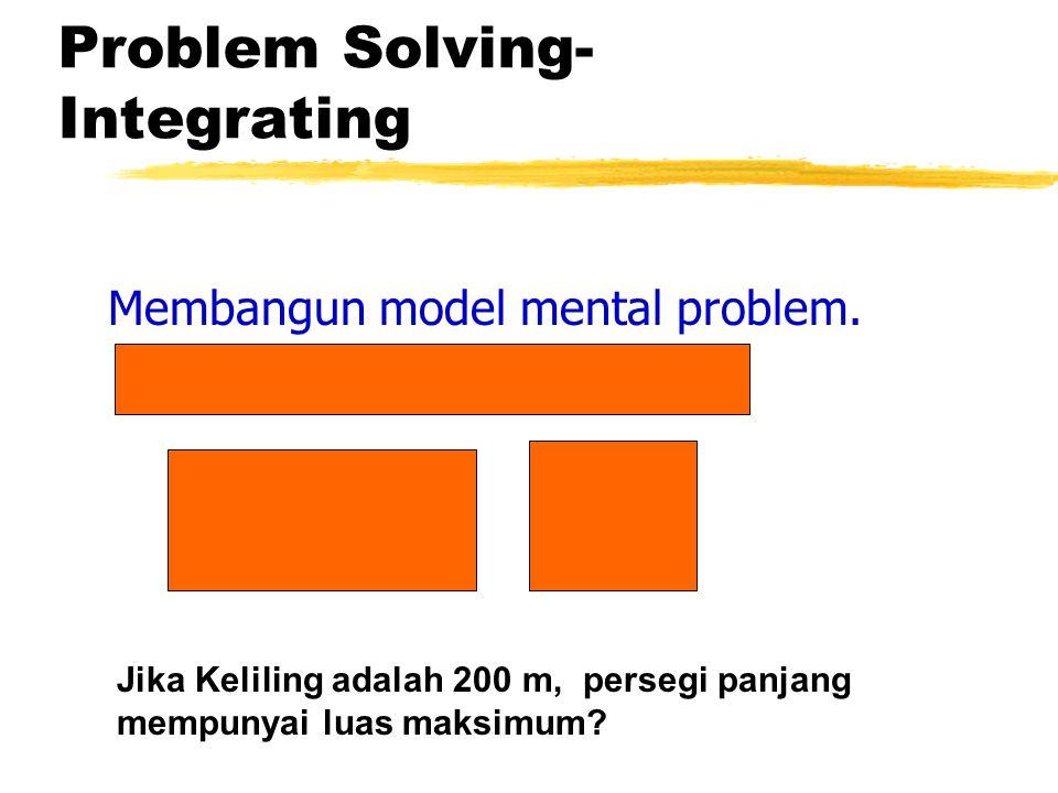 Problem Solving- Integrating Membangun model mental problem. Jika Keliling adalah 200 m, persegi panjang mempunyai luas maksimum?