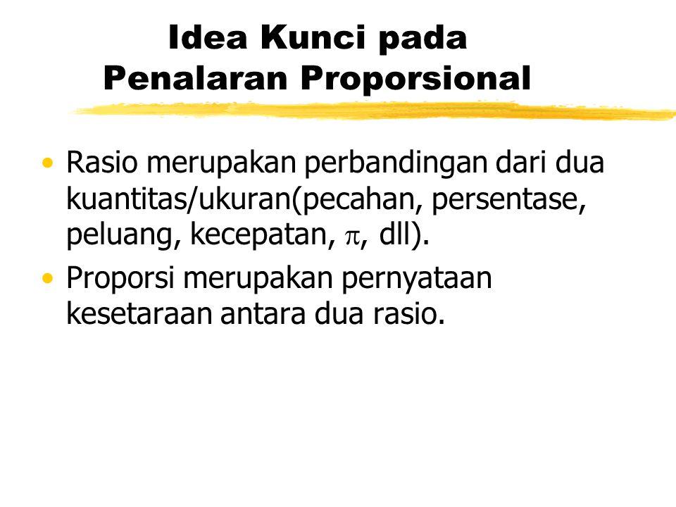 Idea Kunci pada Penalaran Proporsional Rasio merupakan perbandingan dari dua kuantitas/ukuran(pecahan, persentase, peluang, kecepatan, , dll).