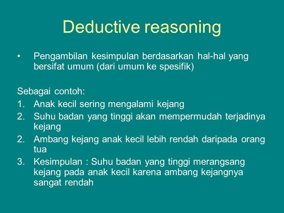 Induktive reasoning Pengambilan kesimpulan berdasarkan hal-hal yang bersifat khusus ( dari khusus ke umum) Contoh : 1.