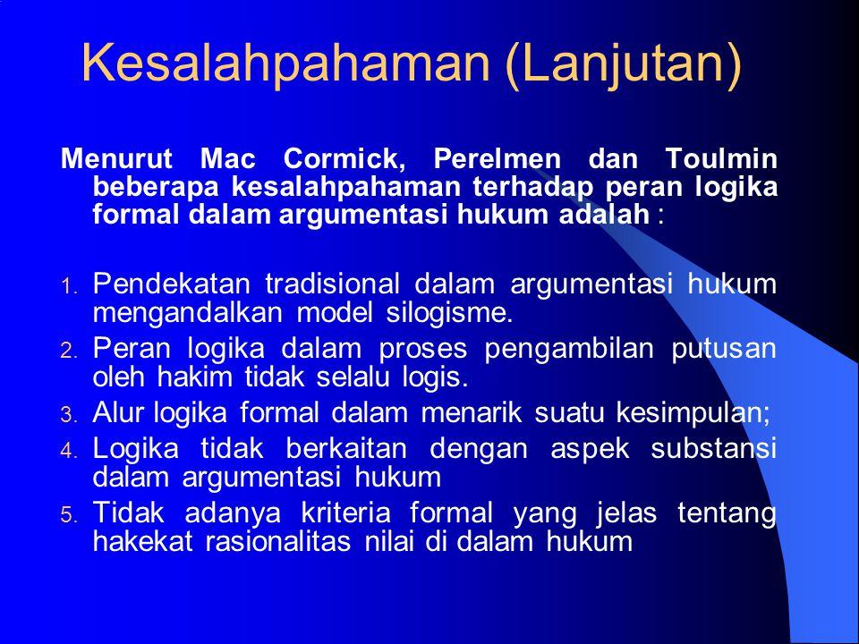 Kesalahpahaman Terhadap Peran Logika Di antara para penulis terdapat perbedaan pendapat mengenai peran logika formal dalam argumentasi hukum; Contoh M