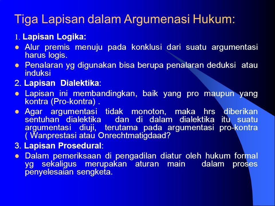 KEKHUSUSAN LOGIKA HUKUM Satu argumentasi bermakna hanya dibangun atas dasar logika (A. Soeteman dan P.W. Brouwer); Merupakan suatu