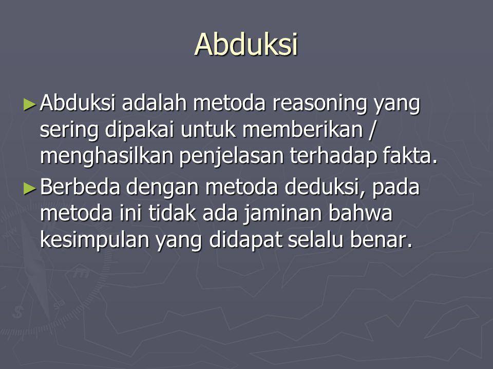 Abduksi ► Abduksi adalah metoda reasoning yang sering dipakai untuk memberikan / menghasilkan penjelasan terhadap fakta. ► Berbeda dengan metoda deduk
