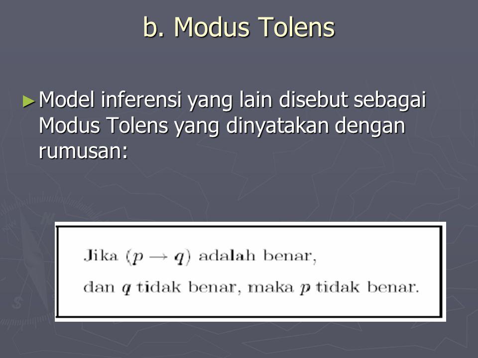 b. Modus Tolens ► Model inferensi yang lain disebut sebagai Modus Tolens yang dinyatakan dengan rumusan: