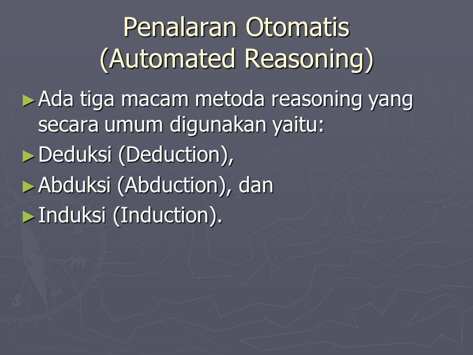 Penalaran Otomatis (Automated Reasoning) ► Ada tiga macam metoda reasoning yang secara umum digunakan yaitu: ► Deduksi (Deduction), ► Abduksi (Abducti