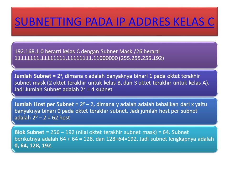 SUBNETTING PADA IP ADDRES KELAS C 192.168.1.0 berarti kelas C dengan Subnet Mask /26 berarti 11111111.11111111.11111111.11000000 (255.255.255.192) Jum
