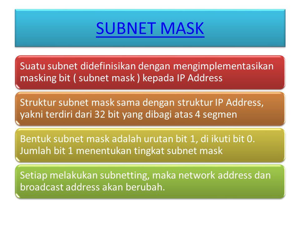 SUBNET MASK Suatu subnet didefinisikan dengan mengimplementasikan masking bit ( subnet mask ) kepada IP Address Struktur subnet mask sama dengan struktur IP Address, yakni terdiri dari 32 bit yang dibagi atas 4 segmen Bentuk subnet mask adalah urutan bit 1, di ikuti bit 0.