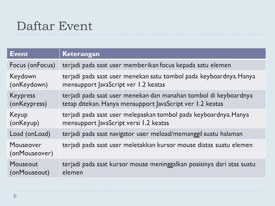 Daftar Event EventKeterangan Focus (onFocus)terjadi pada saat user memberikan focus kepada satu elemen Keydown (onKeydown) terjadi pada saat user mene