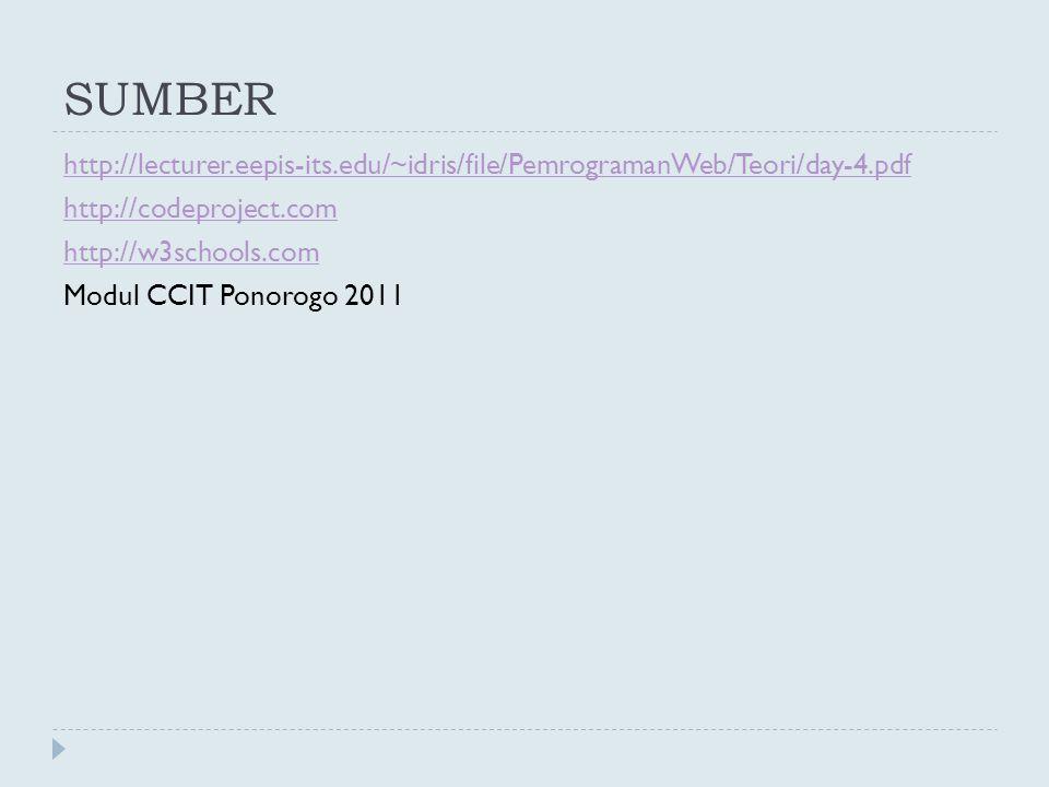 SUMBER http://lecturer.eepis-its.edu/~idris/file/PemrogramanWeb/Teori/day-4.pdf http://codeproject.com http://w3schools.com Modul CCIT Ponorogo 2011
