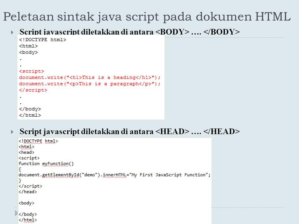 Peletaan sintak java script pada dokumen HTML  Script javascript diletakkan di antara ….