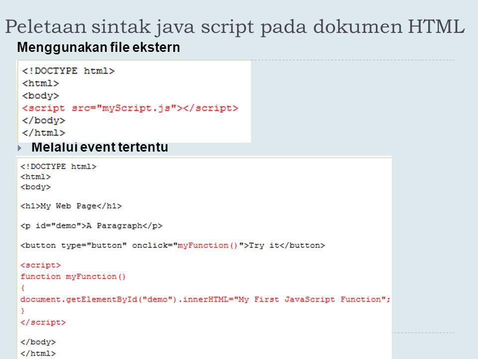 Peletaan sintak java script pada dokumen HTML Menggunakan file ekstern  Melalui event tertentu