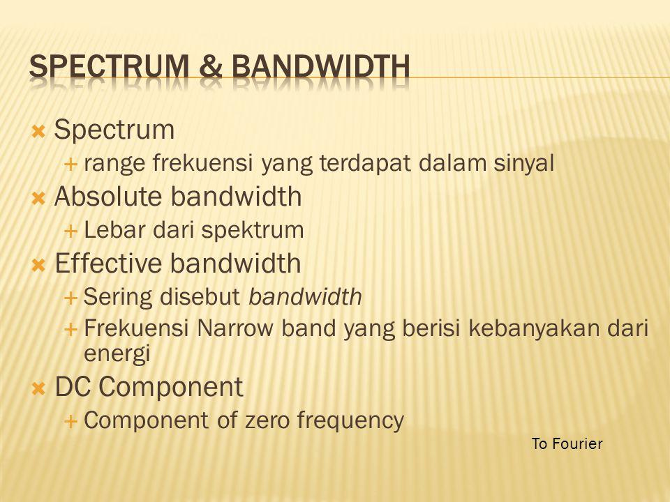  Spectrum  range frekuensi yang terdapat dalam sinyal  Absolute bandwidth  Lebar dari spektrum  Effective bandwidth  Sering disebut bandwidth  Frekuensi Narrow band yang berisi kebanyakan dari energi  DC Component  Component of zero frequency To Fourier