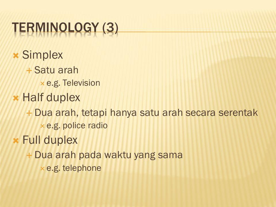  Simplex  Satu arah  e.g. Television  Half duplex  Dua arah, tetapi hanya satu arah secara serentak  e.g. police radio  Full duplex  Dua arah