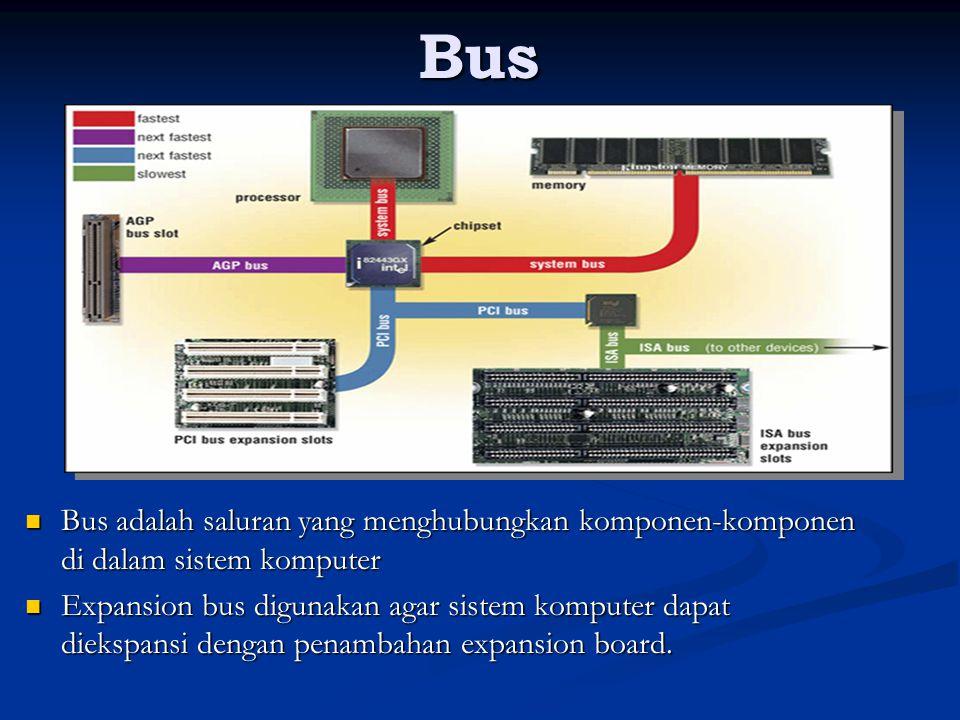 Sifat-sifat bus Saluran paralel Saluran paralel Digunakan bersama oleh banyak komponen Digunakan bersama oleh banyak komponen Pada suatu waktu tertentu hanya satu komponen yang boleh menggunakan bus Pada suatu waktu tertentu hanya satu komponen yang boleh menggunakan bus