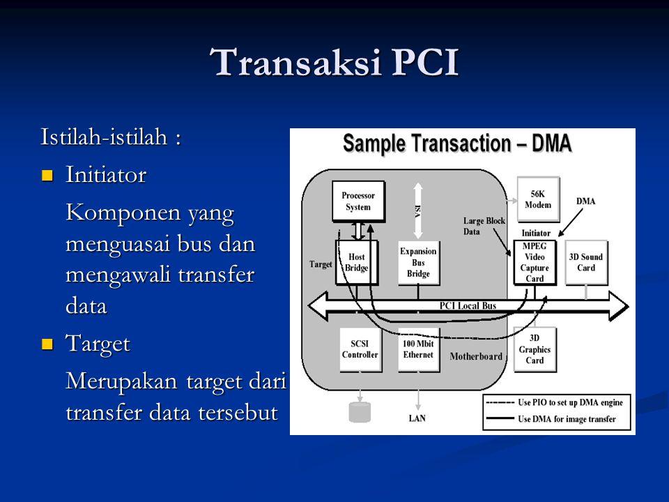 Perkembangan Bandwidth PCI Pada prakteknya bandwidth yang didapatkan lebih kecil karena adanya protocol overhead dan karena bus PCI digunakan secara bersama-sama oleh beberapa komponen.
