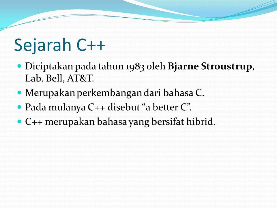 Sejarah C++ Diciptakan pada tahun 1983 oleh Bjarne Stroustrup, Lab.