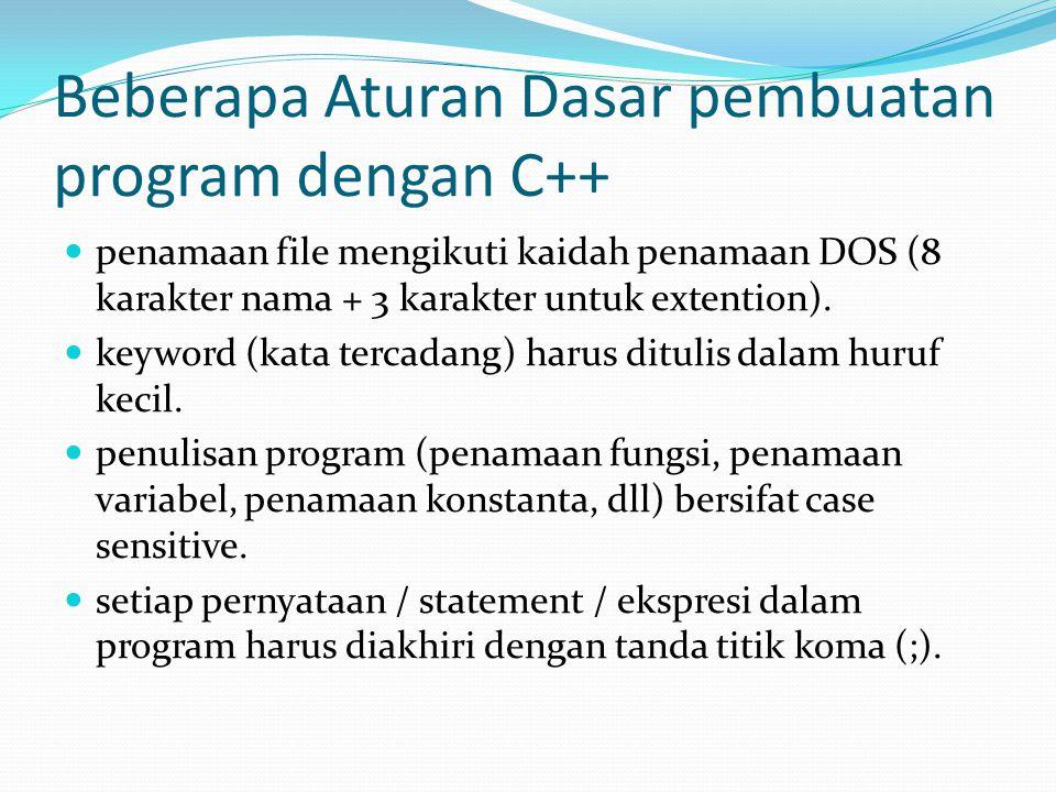 Beberapa Aturan Dasar pembuatan program dengan C++ penamaan file mengikuti kaidah penamaan DOS (8 karakter nama + 3 karakter untuk extention).