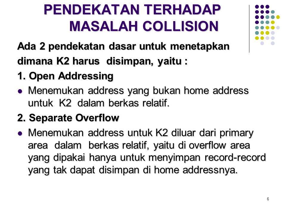 6 PENDEKATAN TERHADAP MASALAH COLLISION Ada 2 pendekatan dasar untuk menetapkan dimana K2 harus disimpan, yaitu : 1. Open Addressing Menemukan address