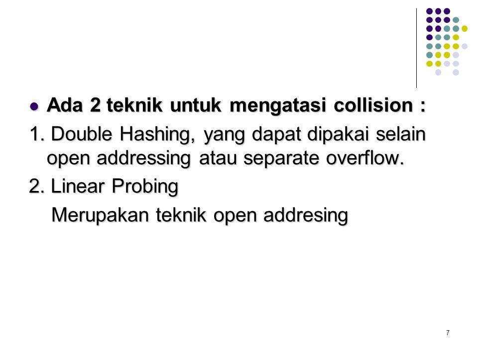 7 Ada 2 teknik untuk mengatasi collision : Ada 2 teknik untuk mengatasi collision : 1. Double Hashing, yang dapat dipakai selain open addressing atau
