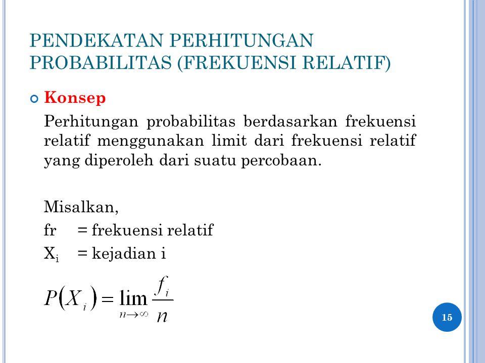 PENDEKATAN PERHITUNGAN PROBABILITAS (FREKUENSI RELATIF) Konsep Perhitungan probabilitas berdasarkan frekuensi relatif menggunakan limit dari frekuensi relatif yang diperoleh dari suatu percobaan.