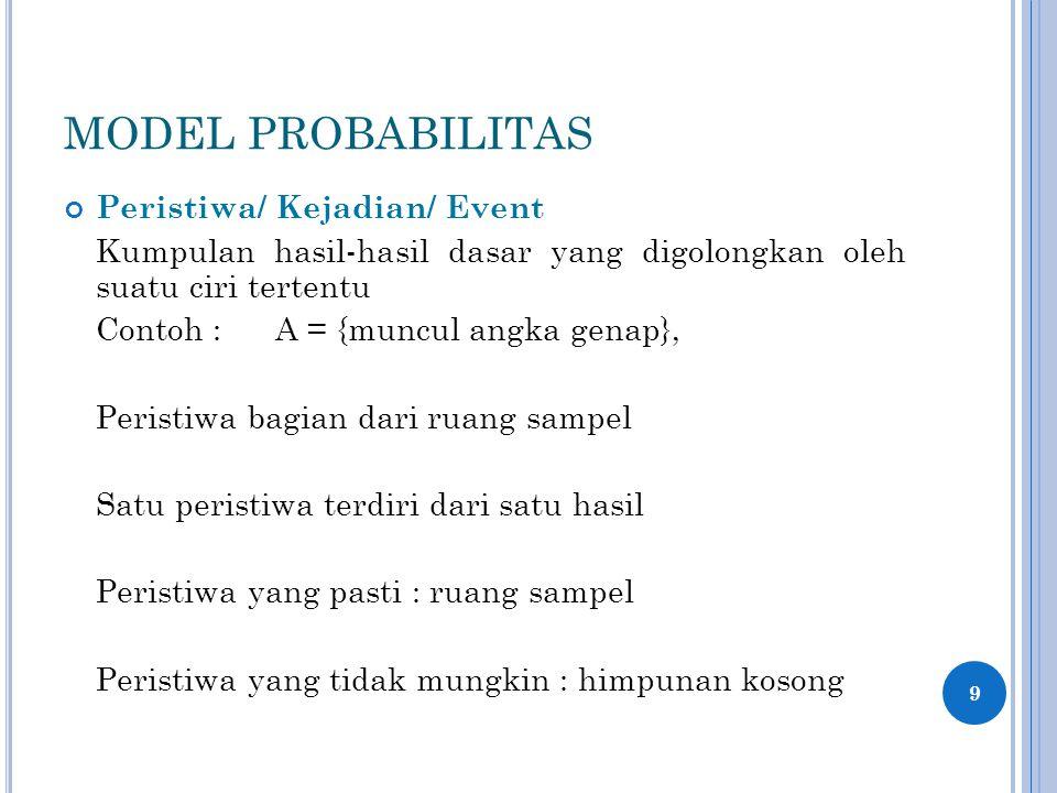 MODEL PROBABILITAS Peristiwa/ Kejadian/ Event Kumpulan hasil-hasil dasar yang digolongkan oleh suatu ciri tertentu Contoh :A = {muncul angka genap}, Peristiwa bagian dari ruang sampel Satu peristiwa terdiri dari satu hasil Peristiwa yang pasti : ruang sampel Peristiwa yang tidak mungkin : himpunan kosong 9