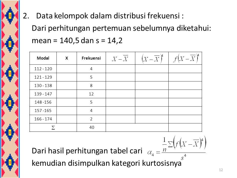2.Data kelompok dalam distribusi frekuensi : Dari perhitungan pertemuan sebelumnya diketahui: mean = 140,5 dan s = 14,2 Dari hasil perhitungan tabel c