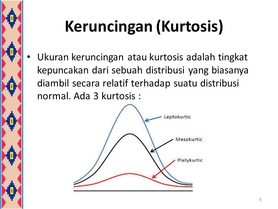 Keruncingan (Kurtosis) Koefisien kurtosis dilambangkan  4 (alpha 4) Kriteria distribusi: a.