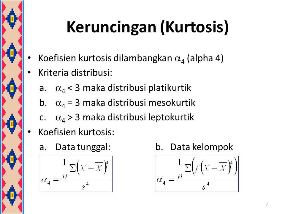 Keruncingan (Kurtosis) Koefisien kurtosis dilambangkan  4 (alpha 4) Kriteria distribusi: a.  4 < 3 maka distribusi platikurtik b.  4 = 3 maka distr