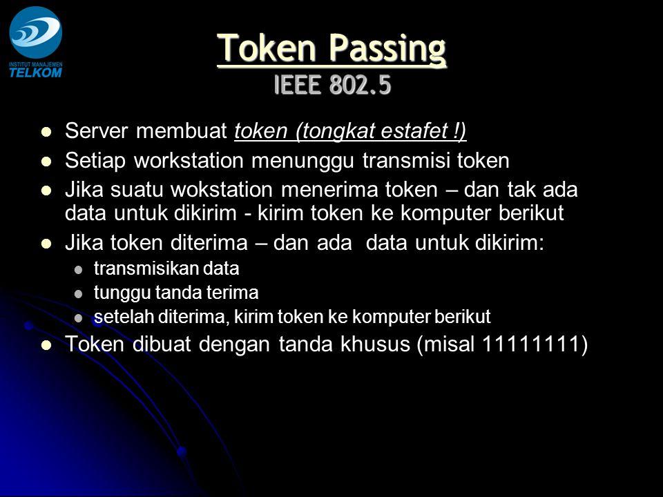 Token Passing Token Passing IEEE 802.5 Token Passing Server membuat token (tongkat estafet !) Setiap workstation menunggu transmisi token Jika suatu w