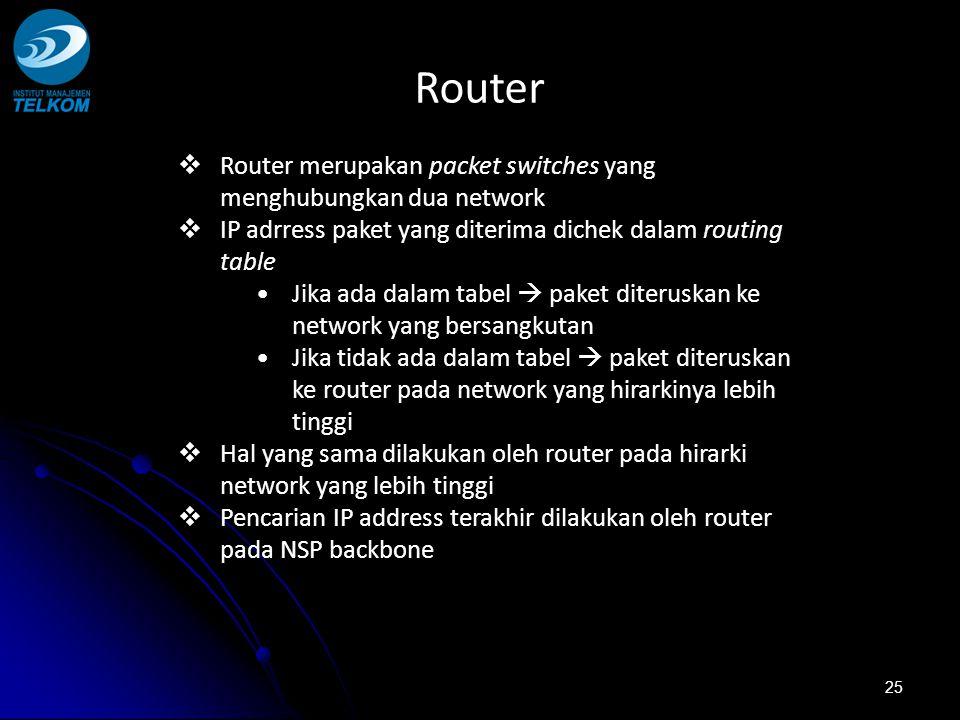 25  Router merupakan packet switches yang menghubungkan dua network  IP adrress paket yang diterima dichek dalam routing table Jika ada dalam tabel  paket diteruskan ke network yang bersangkutan Jika tidak ada dalam tabel  paket diteruskan ke router pada network yang hirarkinya lebih tinggi  Hal yang sama dilakukan oleh router pada hirarki network yang lebih tinggi  Pencarian IP address terakhir dilakukan oleh router pada NSP backbone Router