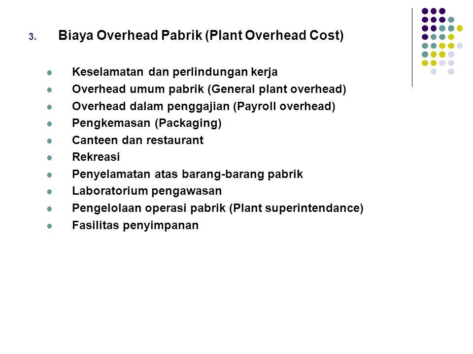 3. Biaya Overhead Pabrik (Plant Overhead Cost) Keselamatan dan perlindungan kerja Overhead umum pabrik (General plant overhead) Overhead dalam penggaj
