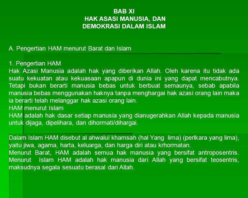 B.Demokrasi Menurut Islam,barat dan Pancasila 1.Demokrasi dalam Islam dilandasi atas tiga hal : a.