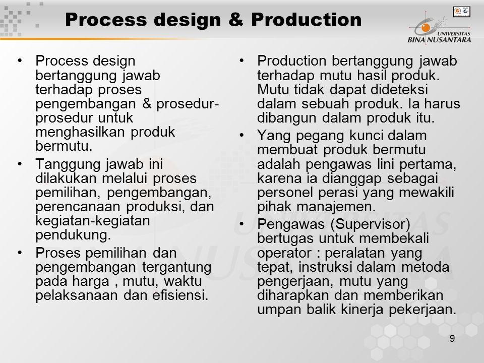 9 Process design & Production Process design bertanggung jawab terhadap proses pengembangan & prosedur- prosedur untuk menghasilkan produk bermutu.
