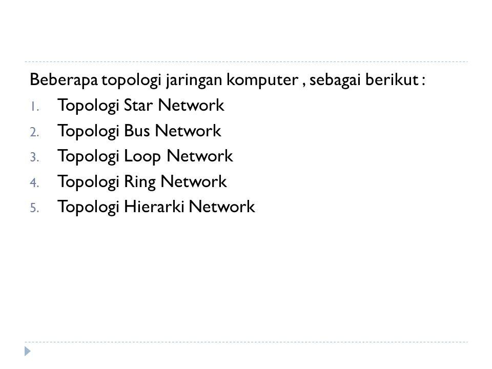Beberapa topologi jaringan komputer, sebagai berikut : 1.