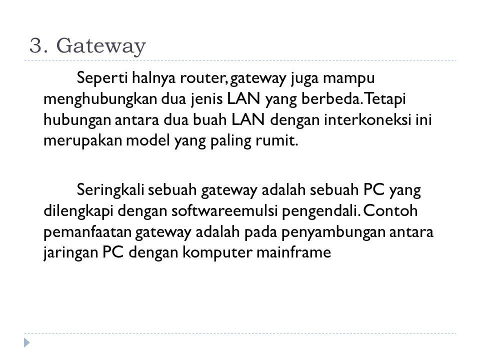 3.Gateway Seperti halnya router, gateway juga mampu menghubungkan dua jenis LAN yang berbeda.