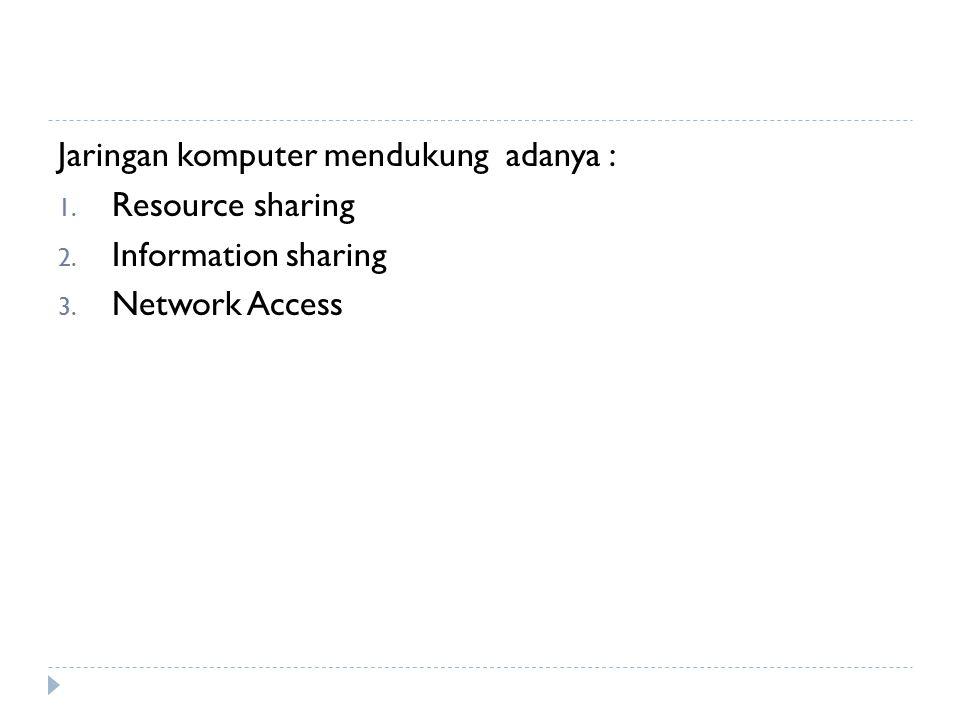 Jaringan komputer mendukung adanya : 1. Resource sharing 2. Information sharing 3. Network Access