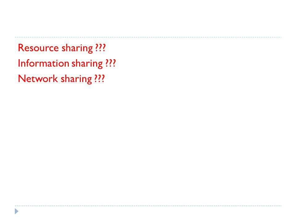 Resource sharing ??? Information sharing ??? Network sharing ???