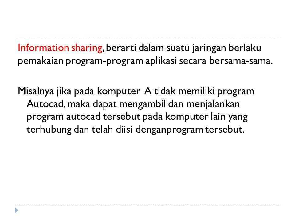 Information sharing, berarti dalam suatu jaringan berlaku pemakaian program-program aplikasi secara bersama-sama.