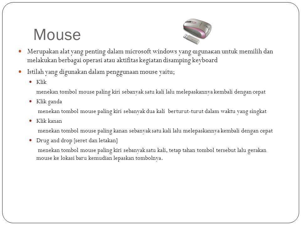 Mouse Merupakan alat yang penting dalam microsoft windows yang digunakan untuk memilih dan melakukan berbagai operasi atau aktifitas kegiatan disampin