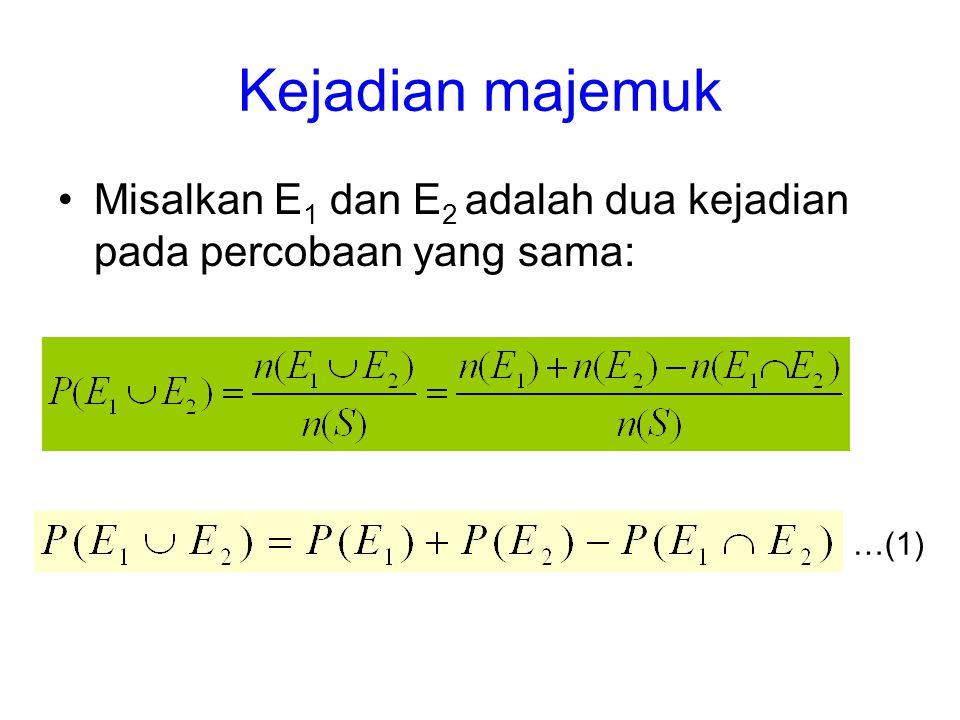 Kejadian majemuk Misalkan E 1 dan E 2 adalah dua kejadian pada percobaan yang sama: …(1)