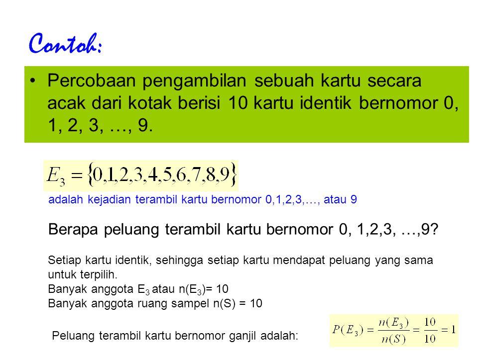 Contoh: Percobaan pengambilan sebuah kartu secara acak dari kotak berisi 10 kartu identik bernomor 0, 1, 2, 3, …, 9.