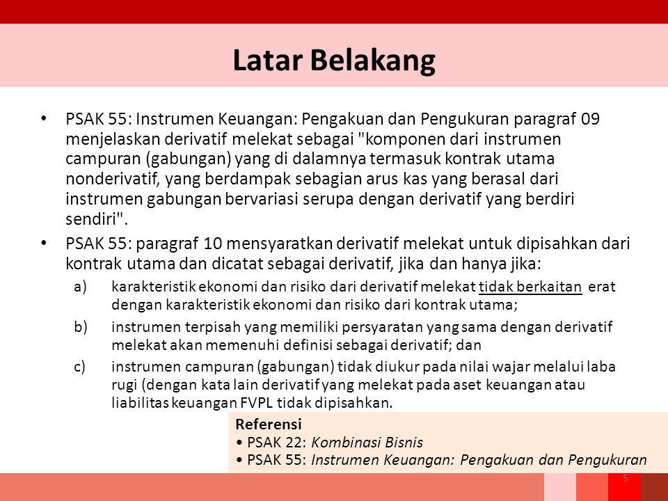 Latar Belakang PSAK 55: Instrumen Keuangan: Pengakuan dan Pengukuran paragraf 09 menjelaskan derivatif melekat sebagai komponen dari instrumen campuran (gabungan) yang di dalamnya termasuk kontrak utama nonderivatif, yang berdampak sebagian arus kas yang berasal dari instrumen gabungan bervariasi serupa dengan derivatif yang berdiri sendiri .