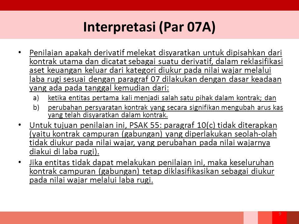 Interpretasi (Par 07A) Penilaian apakah derivatif melekat disyaratkan untuk dipisahkan dari kontrak utama dan dicatat sebagai suatu derivatif, dalam r