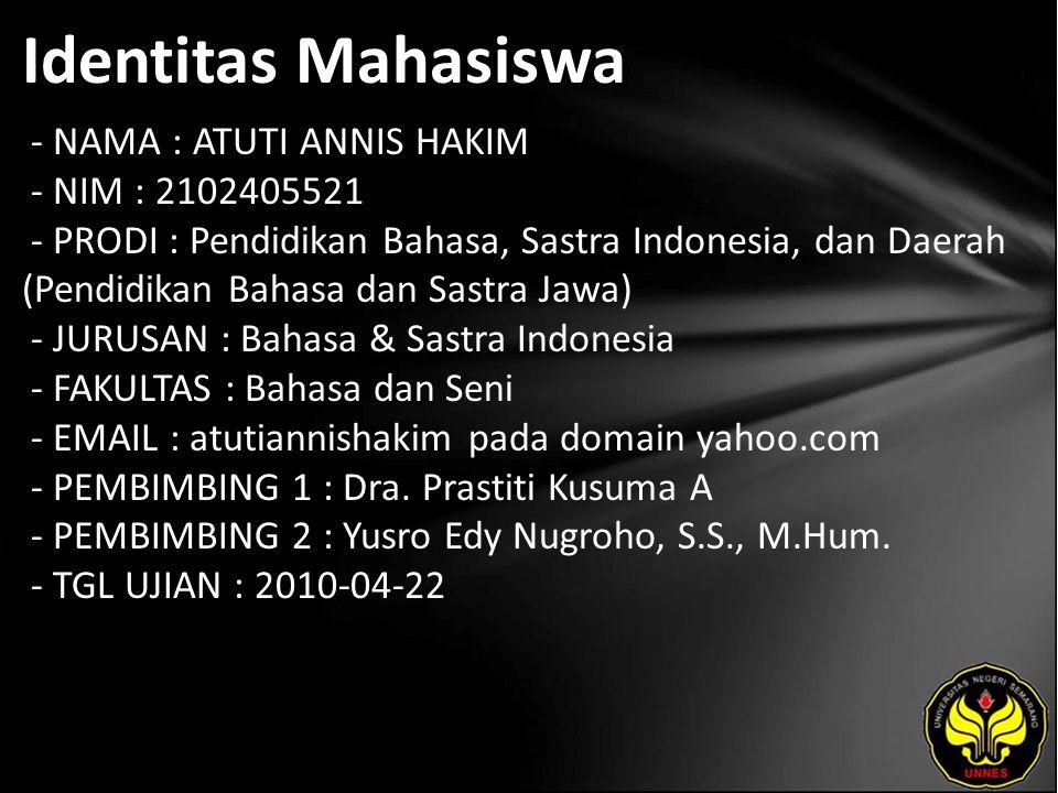 Identitas Mahasiswa - NAMA : ATUTI ANNIS HAKIM - NIM : 2102405521 - PRODI : Pendidikan Bahasa, Sastra Indonesia, dan Daerah (Pendidikan Bahasa dan Sas