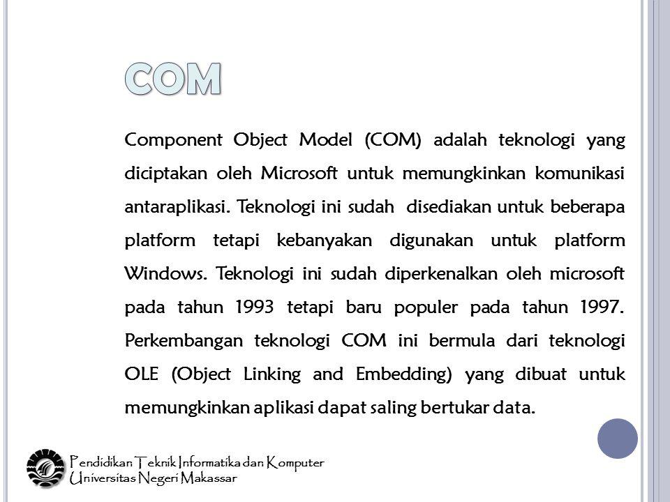 Component Object Model (COM) adalah teknologi yang diciptakan oleh Microsoft untuk memungkinkan komunikasi antaraplikasi.