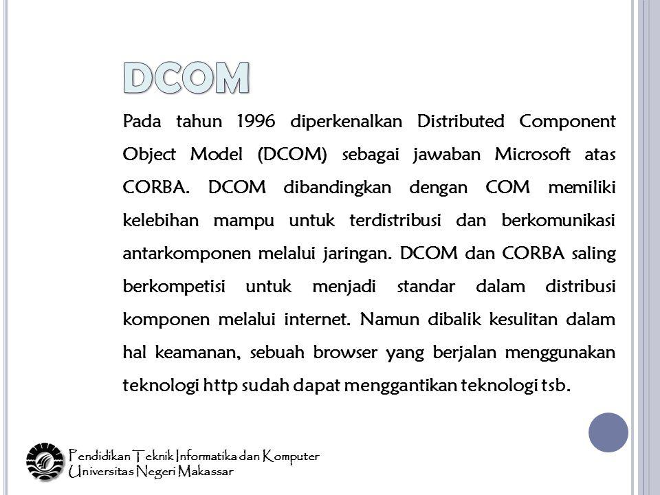 Pada tahun 1996 diperkenalkan Distributed Component Object Model (DCOM) sebagai jawaban Microsoft atas CORBA.