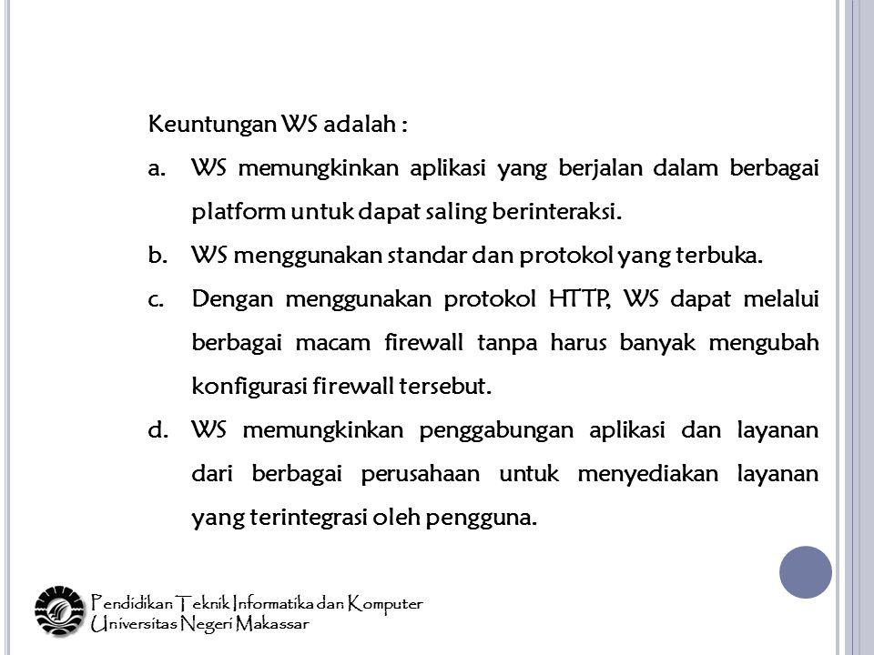 Keuntungan WS adalah : a.WS memungkinkan aplikasi yang berjalan dalam berbagai platform untuk dapat saling berinteraksi.