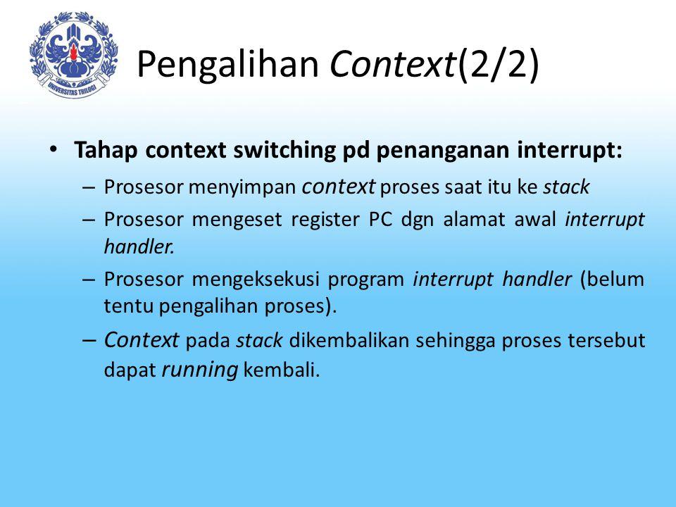 Pengalihan Context(2/2) Tahap context switching pd penanganan interrupt: – Prosesor menyimpan context proses saat itu ke stack – Prosesor mengeset reg