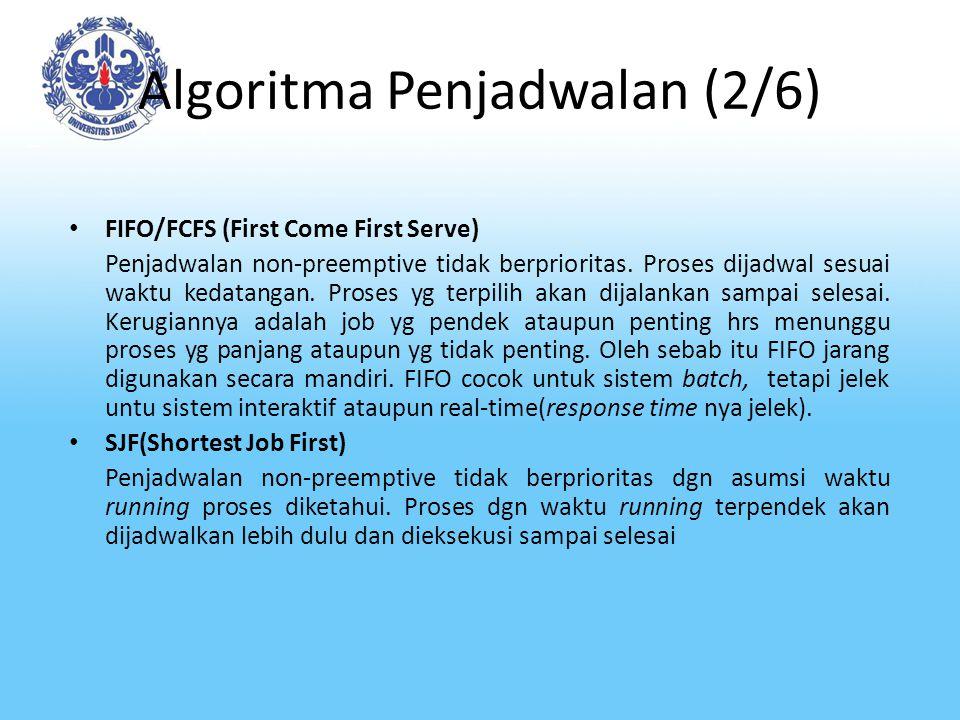 Algoritma Penjadwalan (2/6) FIFO/FCFS (First Come First Serve) Penjadwalan non-preemptive tidak berprioritas. Proses dijadwal sesuai waktu kedatangan.