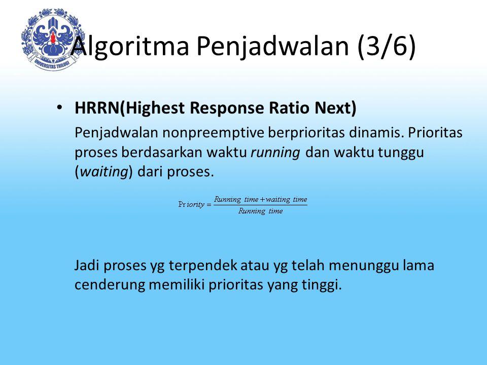 Algoritma Penjadwalan (3/6) HRRN(Highest Response Ratio Next) Penjadwalan nonpreemptive berprioritas dinamis. Prioritas proses berdasarkan waktu runni